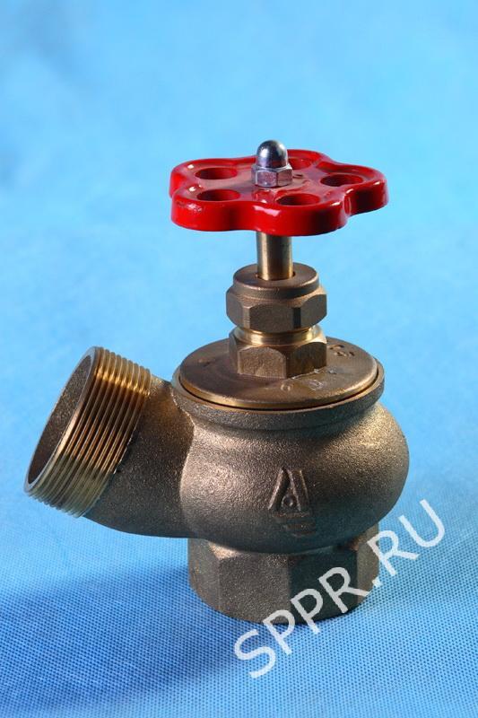 Клапан 50мм. латунь(угловой 125°) муфта-цапка (КПЛ 50)